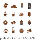 cocoa and chocolate icons set vector 33228128