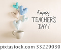 Teacher's Day message with blue heart cushions 33229030