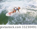 Atractive sporty girl surfing on famous artificial 33230491