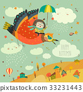 Little girl flying in the sky with funny birds 33231443