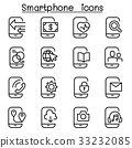 Smartphone icon set in thin line style 33232085