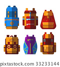 Set of isolated sport or school bag or rucksack 33233144