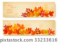 Set of two nature banners with autumn leaves 33233616