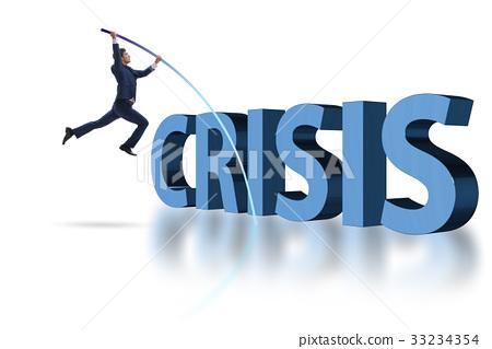 Businessman vault jumping over crisis 33234354