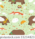 Autumn forest seamless pattern with cute animals 33234823