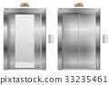 Elevator. Open and closed metal doors 33235461