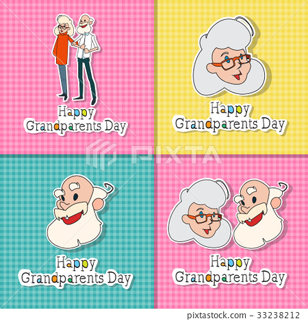 Happy grandparents day greeting cards set colorful stock happy grandparents day greeting cards set colorful m4hsunfo