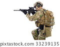 soldier with rifle or sniper   33239135