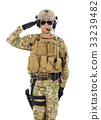 Soldier in military uniform  saluting over white  33239482