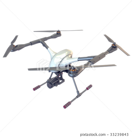 Professional Drone isolated on background. 3d 33239843