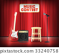 music contest with microphone guitar on stage 33240758