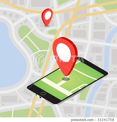 Flat 3d Isometric Mobile Gps Navigation Maps Stock Illustration