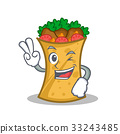 Two finger kebab wrap character cartoon 33243485