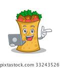 kebab wrap character cartoon with laptop 33243526