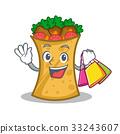 Shopping kebab wrap character cartoon 33243607