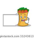 kebab wrap character cartoon with board 33243613