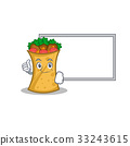 Pose with board kebab wrap character cartoon 33243615