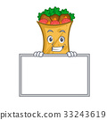 Grinning kebab wrap character cartoon with board 33243619