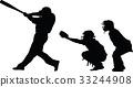 baseball, silhouette, vector 33244908