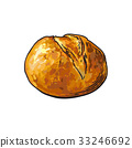 vector sketch white round bread isolated 33246692