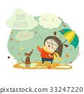 Cute girl playing in rain with umbrella 33247220