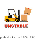 Forklift truck moving dropping cardboard boxes 33248337