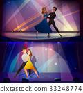 Dance Banners Set Retro Cartoon  33248774