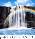 Colored Waterfalls Realistic Composition 33248792