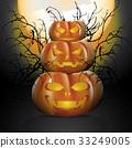 Three halloween pumpkins 33249005