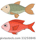 Fish. Colored hand drawing 33250846
