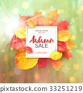 Sale banner with bright autumn leaves. Vector 33251219