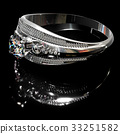 Platinum silver ring with diamond gem jewelry. 33251582
