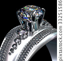 White gold engagement ring with diamond gem. 33251586
