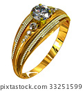 Engagement gold ring with jewelry gem. 33251599