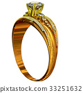 One engagement gold ring with jewelry gem. 33251632