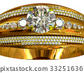 One engagement gold ring with jewelry gem. 33251636