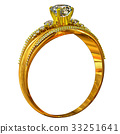 One engagement gold ring with jewelry gem. 33251641
