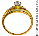 One engagement gold ring with jewelry gem. 33251695