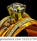 Engagement gold ring with jewelry gem. 33251734