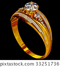 Engagement gold ring with jewelry gem. 33251736