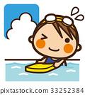 นักเรียนประถม,เด็กผู้หญิง,ว่ายน้ำ 33252384