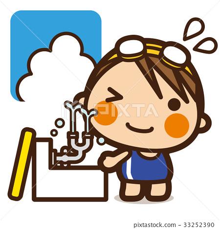 学校的孩子洗游泳女孩的眼睛 33252390
