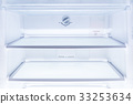inside of clean and empty refrigerator with shelve 33253634