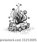 campfire, vector, bonfire 33253695