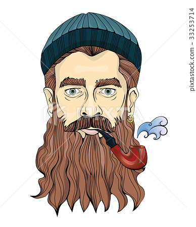 A middle-aged man with a beard smoking a pipe. The 33253714