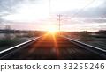 Camera moves along railway. Wonderful sunset. 3d 33255246