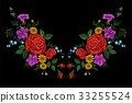Rose flower embroidery texture patch. Red field 33255524