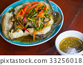 hot spicy steam fish bass food with sauce 33256018