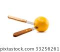knife stab orange on isolated white background 33256261