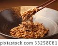 natto, fermented soybeans, chopstick 33258061